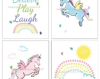 Girls Unicorn Decor, Unicorn Bedroom Art decor, Dream, Believe, Pegasus Art Prints,Girls Rainbow Bedding Hearts Decor, choose your set of 4