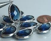 Promotion SALE 25% off Framed blue sapphire glass drop charm connector, earring componenet, necklace pendant, 2 pcs (item ID G52N10SP)