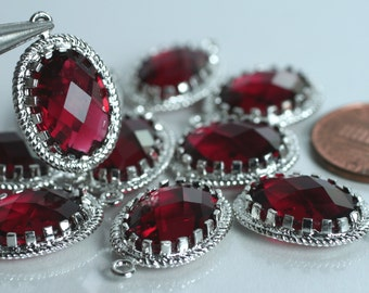Promotion SALE 25% off Framed Garnet red glass drop charm connector, earring componenet, necklace pendant, 2 pcs (item ID G53N09SP)