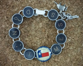 DON'T MESS - Antique Vintage Typewriter Key Bracelet Texas State Flag Charms Armadillo Pistol Lone Star Upcycled Icons