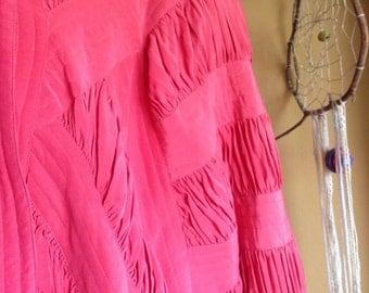 Epic Vtg Silk 80s Batwing Coat . Pleated + Peach