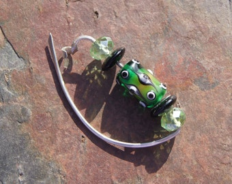 Sweater Clip Sterling, Crystal, and Lampwork Glass Sweater Clip Fibula Scarf Pin in Green and Black