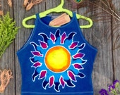 Sun moon, crop top, spandex cotton batik, Crop and Tube Tops, gifts under 30, hand dyed clothing, womens clothing, tops & tees, Crop Tops