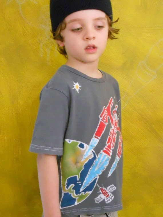Rocket space ship t shirt, Outer Space, batik clothing, super soft organic cotton, hand dyed gray, hand drawn design, boys top, party gift