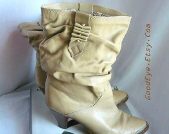 Vintage 80s KAZOOM Slouch Ankle Boots Leather Size 8 M Eu 38 .5 UK 5 .5 METAL Toe Brazil Low Heel Tan