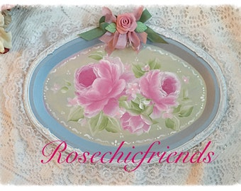 Blue/White Serving Vanity TRAY Hand Painted Pink Roses Sweet Shabby Chic ECS sct schteam