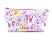 Purple Princess Unicorn Cosmetic Bag, Zip Pouch, Makeup Bag, Pencil Case, Zipper
