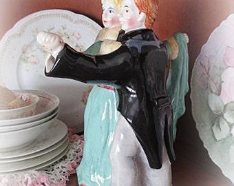 Wonderful Dancing Couple Teapot ~ Rare  ECS