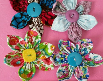 Set of 4 Fabric Flower Hair Clips