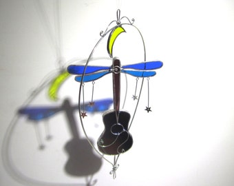 Cosmic Tunes - 3D Stained Glass Nature Spinner - Spinning Dragonfly Guitar Moon Wire Home Garden Decor Yard Art Suncatcher (READY TO SHIP)