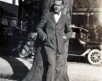 vintage photo 1925 Very Handsome Young Bow Tie Guy Stands by Tree Nice Car