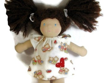 10 inch 12 inch Waldorf Doll Dress, Bears with books Doll Dress, Handmade Doll Dress, cotton doll dress, optional white bloomers