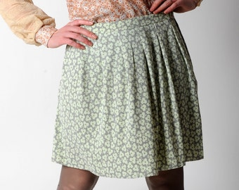 SALE Green floral skirt, Pale green pleated skirt, Short pleated skirt, pale grey and pale green floral pattern