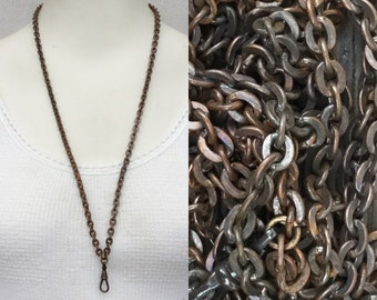 Vintage Lanyard large link chain necklace w charm holder/copper coated steel oxidized to black Patina/ charm holder parts bulk supplies c10