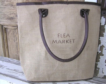 Large Reusable Jute Burlap Brown Trim Shopping Tote Bag Flea Market Design