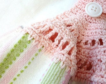 Kitchen Towel Hand Crochet Pink Top Pink Green and White Striped Design