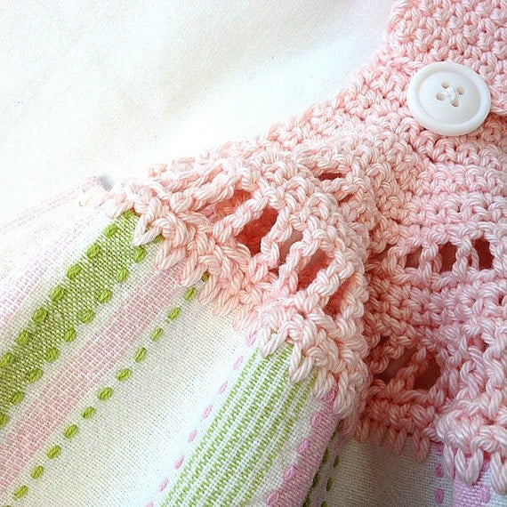 Kitchen Towel Hand Crochet Pink Top Pink Green And White