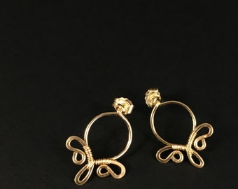 Gold Stud Earrings || Delicate Gold Filled Studs || Gold Filled Earrings || Wire Wrapped Studs