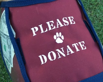 Dog Donation Vest - Fundraising Dog Vest with large clear pockets for donations - Hunter Orange vest -  PLEASE DONATE - size Medium -