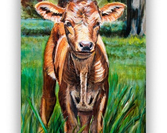 Cow art Print for Farmhouse wall decor from Baby Texas Longhorn cow painting, rustic wall art cow print giclee, farm art, rustic home decor