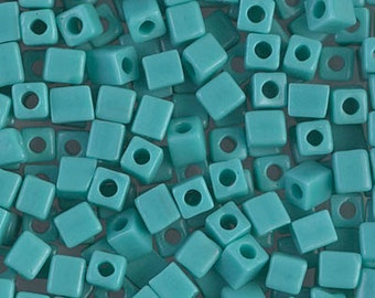 Opaque Turquoise Green. 412. 3mm cube. 30 gram tube. Miyuki glass seed bead. One dollar off regular price.