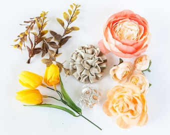 Grab Bag no. 24 --  OVER 15 Orange, Yellow and Brown Tones Small to Medium Artificial Silk Flowers - Silk Artificial Flowers