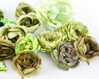 GRAB BAG no. 32 - 20 Medium Size Green Shades Flowers - Silk Artificial Flowers