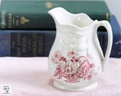 Transferware Creamer, Charlotte Pattern, Clarice Cliff,  Royal Staffordshire, Red Transferware, English Porcelain, Transferware Pitcher