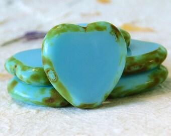 Blue Turquoise Picasso Czech Glass Heart Bead 16mm : 6 pc Blue Heart Bead