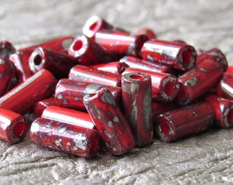 Red Metallic Picasso Czech Glass Beads 9x4mm Bugle Bead :  Full 20 inch Strand Red Picasso Wampum