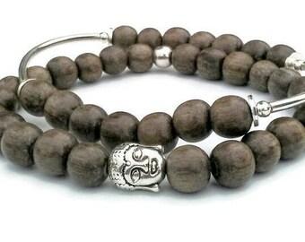 Grey wood Buddha silver tone plus size stretch beaded meditation bracelet set