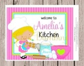 PRINTABLE Little Chef Sign for Cooking Party, Pizza Party, Baking Party & More / Choose Chef's Hair Color / Personalized 8x10 Sign You Print