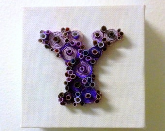 "Y Art Initial Letter Upcycled Paper on 4x4"" Mini Canvas Eco-Friendly Gift"