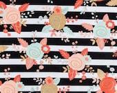 BLACK MINT BLUSH Stripes Floral Fabric,  Yardage Fabric by the half or full yard, mint, black white stripes, blush, flowers,  print, cotton