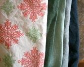 LINEN + COTTON FABRIC / remnants / 10 pieces / linen fabric / snowflake / australia