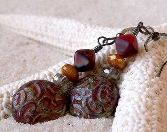 Glass Beaded Earrings - Boho Earrings- Gift for Her - Dangle Earrings - Drop Earrings - Bead Earrings -  Rustic Red Earrings