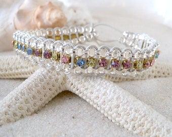Glass Bead Jewelry - Beaded Bracelet - Leather and Chain Bracelet - Summer Bracelet - Rhinestone Bracelet - Beaded Wrap Bracelet