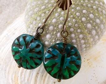 Hypoallergenic - Titanium Earrings - Pure Titanium - Gift Idea - Floral Earrings - Teal Earrings - Short Earrings - Beaded Earrings