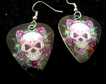 Diamond Head Sugar Skull Guitar Pick earrings
