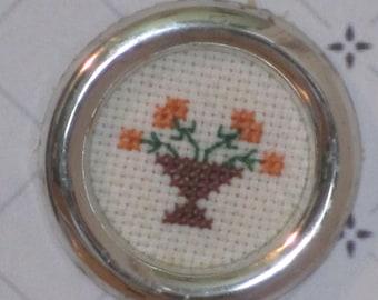 Miniature petit point floral picture