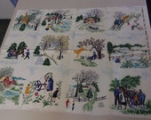 "Reserved Rare Grandma Moses ""TILES"" Bark Cloth Vintage  NEW WASHED  Cotton Fabric"