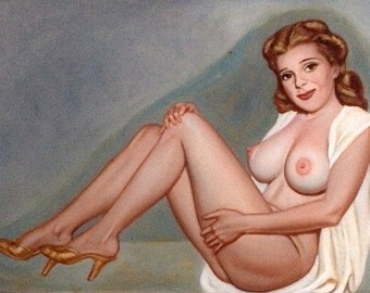 NUDE PINUP PAINTING - By artist Harvey Higley   - Vintage Illustration Pinup Original  - Rare 1 of a Kind Pin-Up 1980's
