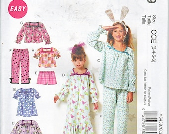 McCalls 6459 Girls Top Gowns Shorts and Pants Easy Sewing Pattern Sizes 3-6 OR 7-14 Out Of Print UNCUT