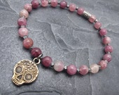 sugar skull bracelet, day of the dead jewelry, skull jewelry, Valentine bracelet, pink tourmaline bracelet, Anne Choi, stacking bracelet