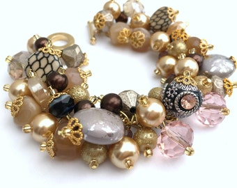 Gold Beaded Bracelet with Pearls, Chunky Bracelet, Caramel Colours, Cluster Beaded Bracelet, Gift for her, One of a kind Jewelry