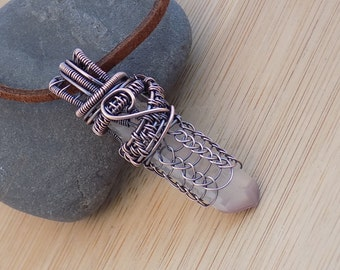 Lithium Quartz Rough Point Wire Wrap in Oxidized Copper Pendant Wire Wrapped Jewelry Handmade Scifi Crystal Healing Medallion Amulet Reiki