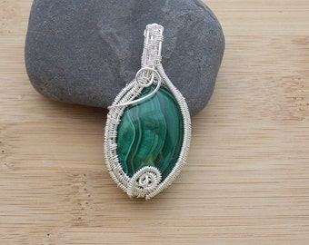 Green Malachite Cabochon Sterling Silver Wire Wrapped Pendant Jewelry Handmade Pendant Weave Crystal Healing Amulet Medallion Handcrafted