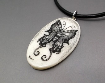 Scrimshaw Pendant Scrimshaw Necklace Butterfly Pendant Black Butterfly Hand Etched Cow Bone Leather Cord Black and White