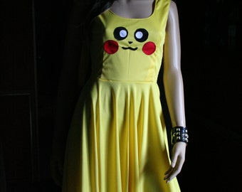 Pikachu Inspired Skater Dress Circle Skirt Cosplay Costume Pokemon Go