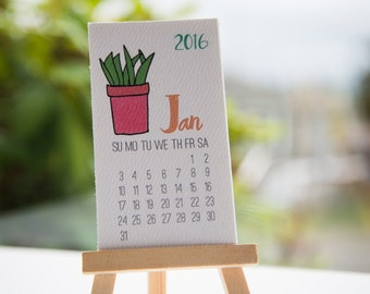 Colorful Cacti Mini Desk Calendar 2016